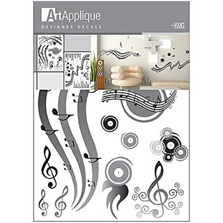 Art Applique Grey Music Designer Wall Decor Vinyl Decal Sticker