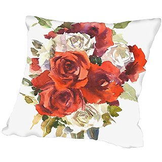 American Flat Red And White Roses Pillow by Suren Nersisyan, 20