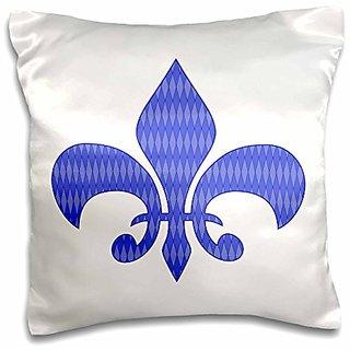 3dRose Vintage Fleur De Lis Filled with Blue Diamond Shaped Pattern-Pillow Case, 16 by 16