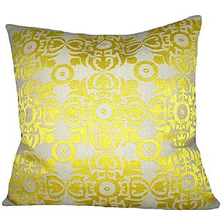 Design Accents KSS0109 YLW20 Embroidered Toss Pillow, 20-Inch by 20-Inch, Yellow
