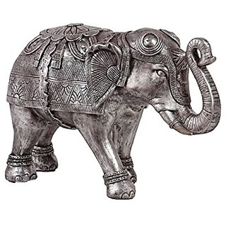 Plutus Brands Beautifully Decorated Resin Elephant Figurine, Large, Silver
