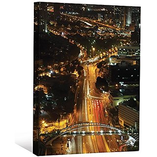JP London Racing Street Lights Urban City Life at Night Gallery Wrap Heavyweight Canvas Art Wall Decor, 2 High by 1.5 Wi