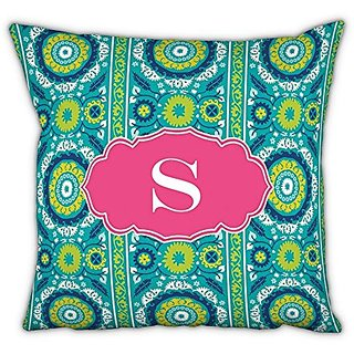 Whitney English Suzani Square pillow with Single Initial, L, Multicolor