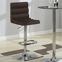 Coaster Home Furnishings Contemporary Adjustable Bar Stool, Chrome/Brown, Set Of 2