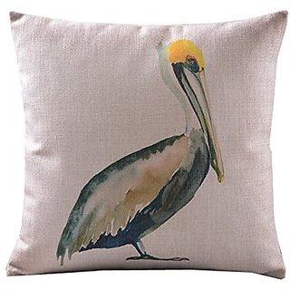 Home Decor Sofa Cotton Linen Pelicans Throw Pillow Cover