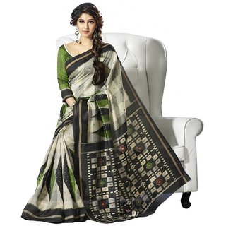 Triveni Multicolor Bhagalpuri Silk Geometric Print Saree With Blouse
