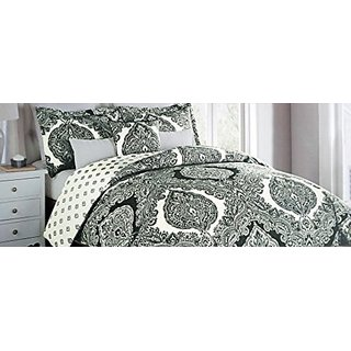 Envogue 3 Piece Full / Queen Size Duvet Cover Set Charcoal Gray Floral Paisley Medallion Pattern on White -- Robin