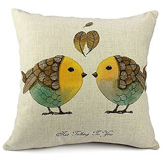 HomeChoice Cotton Linen Durable Home Love Square Decorative Talking Birds Throw Pillow Cover Accent Cushion Cover Pillow