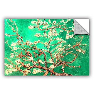 ArtWall Vincent Vangoghs Almond Blossom Interpretation in Emerald Green Art Appealz Removable Graphic Wall Art, 24 by 36