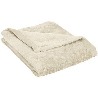 Northpoint High Pile Plush Throw with Dobby Mink Border, Ivory