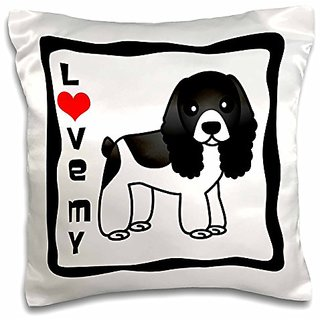 3dRose pc_15361_1 Love My Cocker Spaniel black and White-Pillow Case, 16 by 16