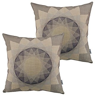 Thanksliving 2pcs Polygon Pattern Pillowcase Cushion Covers Cotton Linen Pillowcase Cover 18 x 18 Inch/45 x 45 Cm, Polyg
