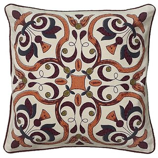 Rizzy Home T06090 Printed with Hand Embroidery Details Decorative Pillow, 18 by 18-Inch, Beige