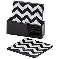 Torre & Tagus 910540 Deco Zig Zag Lacquered Coasters In Box (Set Of 4)
