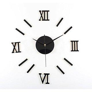 Foxtop Metallic Wall Clock/ DIY Clock / Fashionable Creative Wall Stickers Clock / Black Continental Roman Numeral Clock