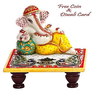 Aapno Rajasthan Lord Ganesh In Rest Position On Marble Chowki Chowki-3.9 inch, Ganesh-1.1 inch x Chowki-1.1 inch, Ganesh