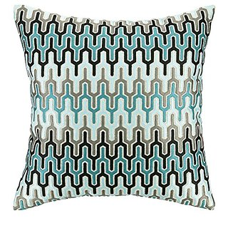 D.L. Rhein Skyscraper Embroidered Decorative Pillow, 20 by 20-Inch, Blue/Light Blue