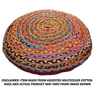Cotton Craft Round Chindi Braid Floor Reversible Pillow, Jute & Cotton Hand Woven, 24-Inch, Multi Color