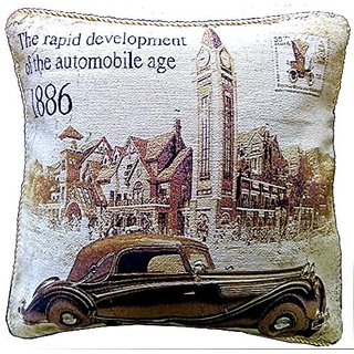 Tache 1 Piece A Drive into Town 18 x 18 Inch Throw Pillow Cushion Cover