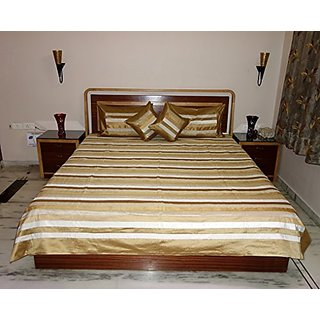 BDS00177 Indian Handmadr Silk Double Bedspread Pillow Covers Cushion Covers Size 108 X 90 Inches