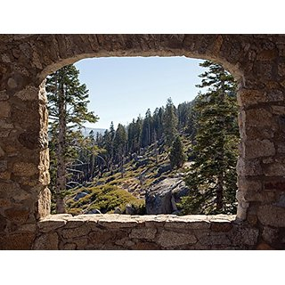 JP London PMUR2143 Peel and Stick Removable Wall Decal Sticker Mural, Stone Wall Banff Rockies Forest, 4 x 3-Feet