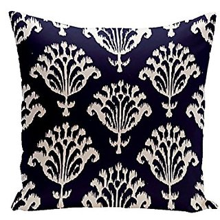 E By Design CPG-N16A-Spring_Navy-16 Floral Motifs Decorative Pillow, 16-Inch, Spring Navy