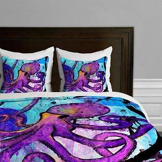 DENY Designs Sophia Buddenhagen Purple Octopus Duvet Cover, Queen