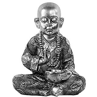 Urban Trends Resin Meditating Buddhist Monk Figurine in Abhaya Mudra, Brushed Silver