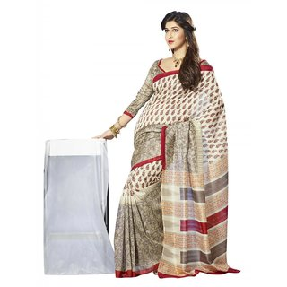 Triveni Multicolor Bhagalpuri Silk Printed Saree With Blouse
