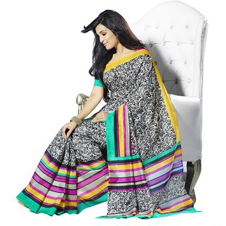 Triveni Multicolor Bhagalpuri Silk Self Design Saree With Blouse