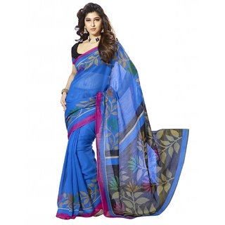 Triveni Multicolor Bhagalpuri Silk Self Design Saree With Blouse
