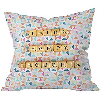 DENY Designs Happee Monkee Think Happy Thoughts Throw Pillow, 26 x 26