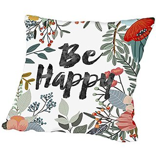 American Flat Be Happy Pillow by Mia Charro, 18