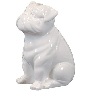 Urban Trends 46640-UT Decorative Ceramic Sitting Dog, White