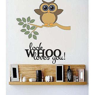 Design with Vinyl 3 C 2313 Decor Item Look Whoo Loves You Owl Image Quote Wall Decal Sticker, 30 x 46-Inch