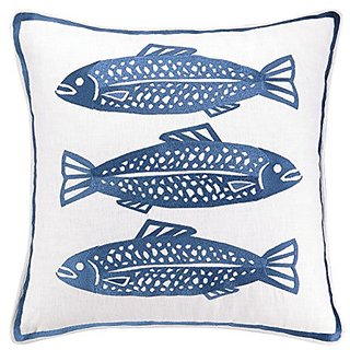 Kate Nelligan 3 Fish Embroidered Linen Pillow, 20 by 20-Inch, Navy