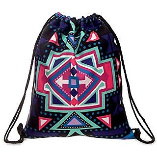 Flora Mcqueen Digital Printing Aztec Drawstring Backpack for Female Outdoor Sports Backpack Purple 15