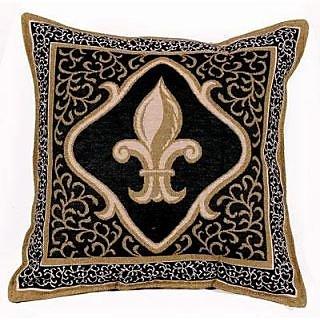 Fleur De Lis Black Decorative Tapestry Toss Pillow USA Made