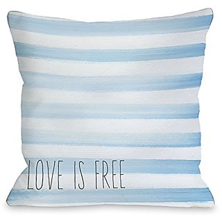 Bentin Home Decor Love is Free Watercolor Stripe Throw Pillow by OBC, 14