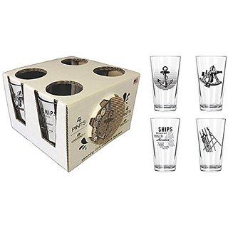 Corkology.com 424-1 Nautical Pint Pack with Matching Coaster Set, Clear