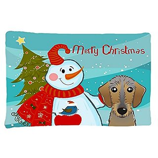 Carolines Treasures BB1853PILLOWCASE Snowman with Wirehaired Dachshund Fabric Standard Pillowcase, Large, Multicolor
