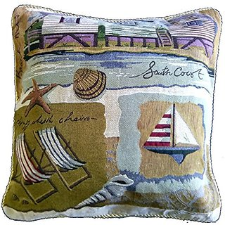 Tache Home Fashion 15680-2PC 2 Piece Summer by The Seaside Cushion Cover
