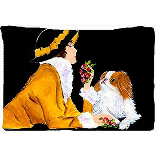 Carolines Treasures SS8540PILLOWCASE Lady with Her Japanese Chin Moisture Wicking Fabric Standard Pillowcase, Large, Mul