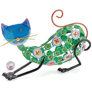 Decor Button Cat Emobssed Tin Statue