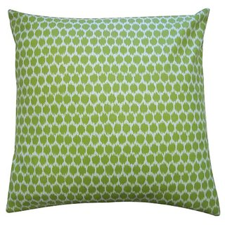 Jiti Splotch Satin Cotton Square Throw Pillow, 20-Inch, Lime
