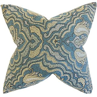 The Pillow Collection P18-ROB-WORLDLYRRBK-AEGEAN-P100 Wystan Damask Pillow, Blue