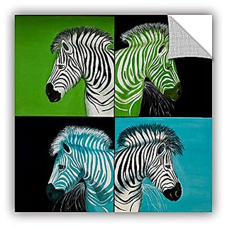 ArtWall Lindsey Janich Zebras Blue Green Appeelz Removable Graphic Wall Art, 14 by 14