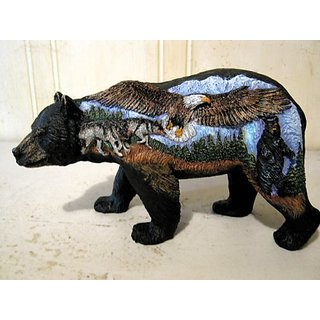 3 D Scenic Bear with Eagle Wolf and Black Bear Figurine Bear Country Statue Bcweb