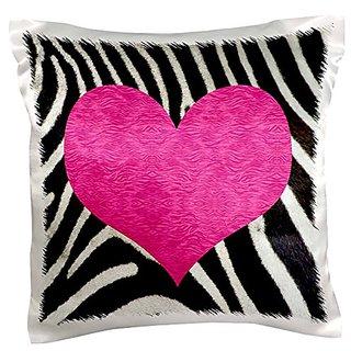 3dRose pc_20393_1 Punk Rockabilly Zebra Animal Stripe Pink Heart Print-Pillow Case, 16 by 16