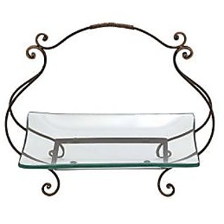 Deco 79 Glass Plate Metal Stand, 20 by 17-Inch